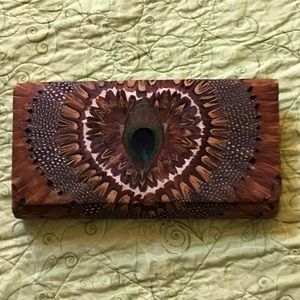 Vintage peacock feather bird feather clutch
